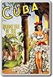 Cuba, Caribbean Island Vintage Travel Fridge Magnet - Aimant de réfrigérateur
