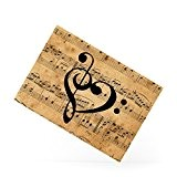 Cute Treble Clefs Heart Love In A Vintage Sheet Music Background Magnet frigo en céramique