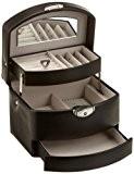 Davidt's - 701613 - Coffret Bijoux Synthétique - Façon Vachette Noir - 16x12x13 cm - Tiroir automatique