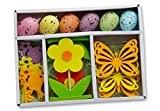 De 16pièces osterd ekor Communications Kit?: 6oeufs de Pâques à suspendre 2Déco Oiseaux, 4papillons, 4Fleurs, en bois, feutre et plastique, ...