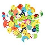 dealglad® Lot de 48fantaisie coloré animaux en bois aimant pour réfrigérateur Réfrigérateur magnétique autocollant sticker enfants éducatif jouet décoration de ...