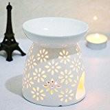 Debon Creative Bougeoir en céramique blanche, motif floral, avec huiles essentielles et bougie chauffe-plat