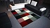 DeBonsol - Tapis salon DESIGN carrés noir rouge blanc UNIVERSOL
