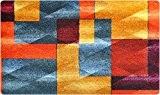 DECO-MAT | MODERNITÉ / JAUNE-ORANGE | paillasson antidérapant | tapis d'entrée 75 x 120 cm sans bordure | haute absorbation ...