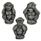 Décoration – 3 petits singes (Singes de la sagesse), en pierre reconstituée, importé de Thaïlande (10256)