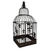 Décoration de cage à oiseaux style antique motif cage à oiseaux en métal brun 36 cm