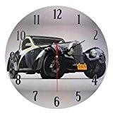 Décoration Maison Horloge MuraleStyleVintageNostalgique en MDFScène Voiture Rétro Noire
