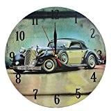 Décoration Maison Horloge MuraleStyleVintageNostalgiqueen MDFScèneVoiture RétroVert