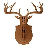 Decoration murale Kit Trophee de chasse Puzzle 3D Bois Renne du Pere Noel Grand Marron