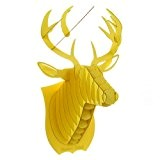 Decoration murale Kit Trophee de chasse Puzzle 3D carton original animal Tete de Cerf Large Jaune