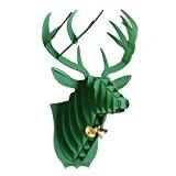 Decoration murale Kit Trophee de chasse Puzzle 3D carton original animal Tete de Cerf Petit Vert