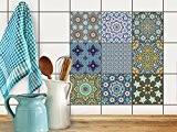 Décoration personnalisée | Film adhésif décoratif carreau - Enjolivement de intérieur et extérieur | Motif Orientalisches Mosaik | 20x20 cm ...