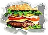 délicieux hamburger avec des oignons noir / blanc, mur 3D de papier taille de l'autocollant: 62x45 cm décoration murale 3D ...