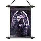 Design Toscano Lost Amour gothique Fée sur toile murale Tapisserie défilement Lost Soul Dark Angel (L'ange des Âmes Perdues) noir