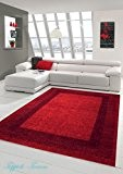 Designer Tapis contemporain pile de tapis du salon moquette à poil ras avec Winchester frontière en rouge Größe 80x150 cm