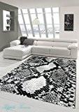 Designer Tapis contemporain salon Moquette motif serpent Noir Gris Blanc Größe 120x170 cm