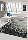 Designer Tapis contemporain tapis du salon motif floral gris turquoise vert et blanc Größe 120x170 cm