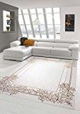 Designer Tapis contemporain Tapis en laine Heather tapis du salon tapis Ornement crème Beige Or Größe 80x150 cm