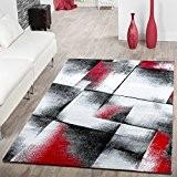 Designer Tapis de salon moderne poils courts Tapis Rouge Chiné Gris/crème, 120 x 170 cm