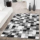 Designer Tapis Salon design à carreaux gris anthracite noir aspect ausverkauf, 133 x 190 cm