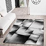Designer Tapis Salon Tapis Moderne Chiné Gris Noir Crème, 120 x 170 cm