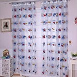 Dessin animé chambres lumineuse inélastique polyester papillon rideaux organdi impression Rideau écrans pour enfants voitures, 1 panneau , 100*270cm