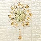 DHGY-Horloge murale de Creative art minimaliste moderne style quartz silencieux le salon swing (sans batterie),Or