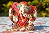 Dieu hindou Ganesha en méditation en métal peint à la main Sculpture Statue Figurine Ganesh–Bureau Decor p?j?