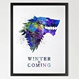 Dignovel Studios N395 Tableau mural à suspendre aquarelle Game of Thrones Maison Stark Sans cadre