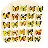 Domire Lot de 12 autocollants 3D en forme de Papillon Fabrication de bricolage Stickers autocollant mural Papillons Jaune