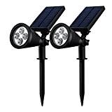 [Double Eclairage Exterieur LED] Mpow Lampe Solaire Jardin IP65 Certifié étanche 4 LED Soleil P2 Luminaire exterieur/ Spot exterieur 1.5w ...