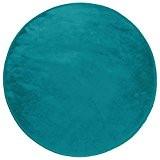 Douceur d'Intérieur LOUNA Tapis rond Polyester Bleu Lagon diamètre 90 cm