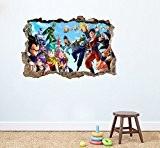 Dragon Ball Z rond Sticker mural Home Decor Autocollant mural enfants Chambre Nursery jeux en Peel et Stick 75x 50cm