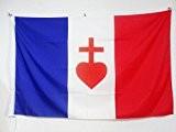 DRAPEAU FRANCE SACRÉ CŒUR DE JÉSUS 150x90cm - DRAPEAU FRANÇAIS CATHOLIQUE 90 x 150 cm Fourreau pour hampe - AZ ...