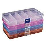 DuoFire 4 Packs(4 couleurs) Boîte De Rangement Plastique(15 compartiments) Bijoux Outils Ajustable à Usages Multiples Récipient