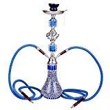DXP Shisha 2 Sortie Tuyau ou tube 55 cm Chicha Hookah Narguile vase Fumeurs Bleu JYH04
