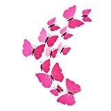 Eizur 12pcs Stickers Muraux de Papillons 3D Mural Autocollants Bricolage Aimant Papillon Amovible Réutilisable Art Design Pour Chambre Salon Décorations ...
