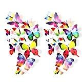 Eizur 24pcs Stickers Muraux de Papillons 3D Mural Autocollants Bricolage Aimant Papillon Amovible Réutilisable Art Design Pour Chambre Salon Décorations ...
