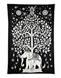 Elephant Arbre Tapisserie, noir et blanc Wall Decal Designer main ethnique indienne, décoratif tenture murale, feuille de pique-nique plage Rajrang
