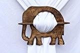 Éléphant en bois Rideau Embrasses Draperie Embrasses rustique Lot de 2Home décoratifs