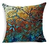 Elviros Peinture à l'huile Coton Lin Blend Décoratif Housse de Coussin 45x45 cm [ 18x18'' ] - Fleurs et Arbre