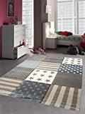 Enfants Jeu de tapis enfants tapis tapis motif étoilé contour coupé Marron Beige Crème Gris Größe 80x150 cm