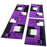 Ensemble De Tapis 3Pièces Design Moderne Carreaux Violet Noir Et Blanc Couloir, Dimension:2xl 70x140 / 1x 70x250 cm