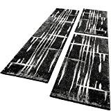 Ensemble De Tapis De Couloir Tour De Lit Design Chiné Gris Noir Blanc 3Pièces, Dimension:2xl 70x140 / 1x 70x250 cm