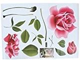 EOZY 50*70cm Fleur Sticker Mural de Grande Rose Adhésif en PVC Décoration Maison
