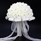 ETGtek(TM) 1pcs mariage blanc Bouquet de fleurs à la main Rose strass Perle bouquet de mariée en mousse artificielle fleur ...