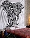 Ethnique Blanc Home Decor Tenture Elephant Imprime Tapisserie Bohême Coton Mandala Par Rajrang