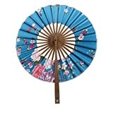 Evantail Pliant Rond Floral Ventilateur à Main Japonais été Décoration Mariage Cadeau (5 Couleurs) - Bleu