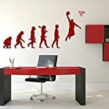 Evolution Joueur de basket - Sticker mural noir 55 x 25 cm (Muraux Décoration Murale Stickers Wall Decal Autocollants Salon ...