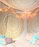 "Exclusive Handmade Original Gold Ombre Tapestry By ""RaaJsee"",Boho Bohemian Tapestry Wall Hanging Tapestry,Dorm Decor Tapestry,Hippie Bedspread Tapestry 140*220cms"